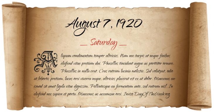 Saturday August 7, 1920