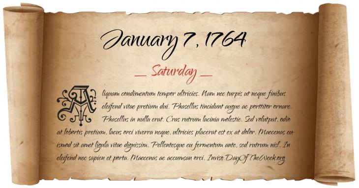 Saturday January 7, 1764
