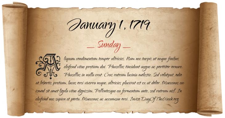 Sunday January 1, 1719