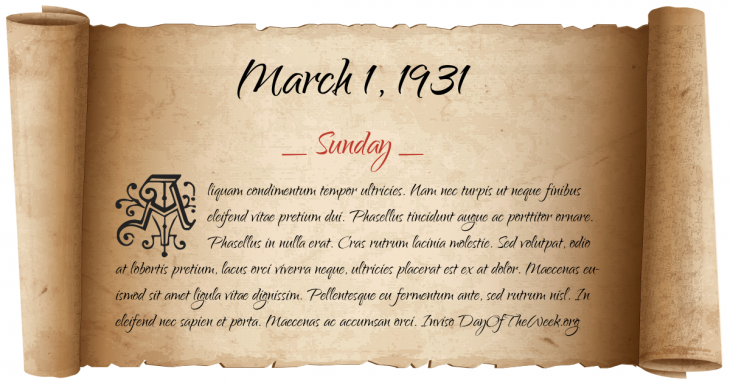 Sunday March 1, 1931