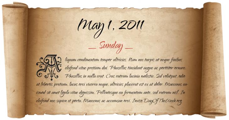 Sunday May 1, 2011