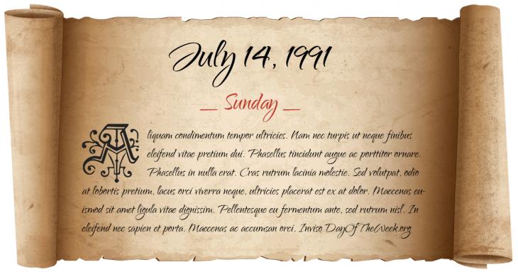 Sunday July 14, 1991