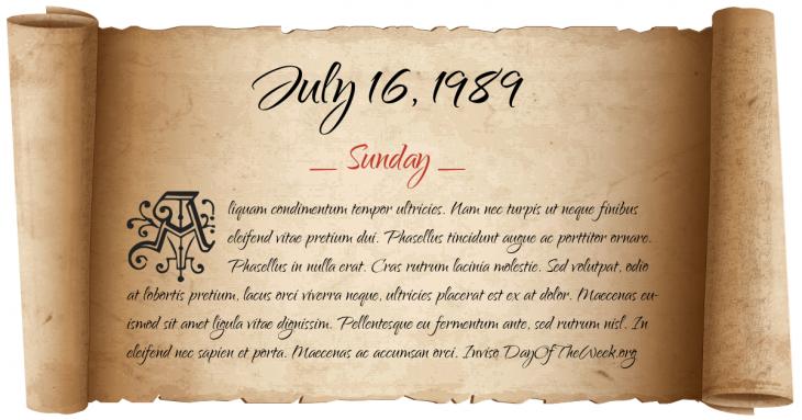Sunday July 16, 1989