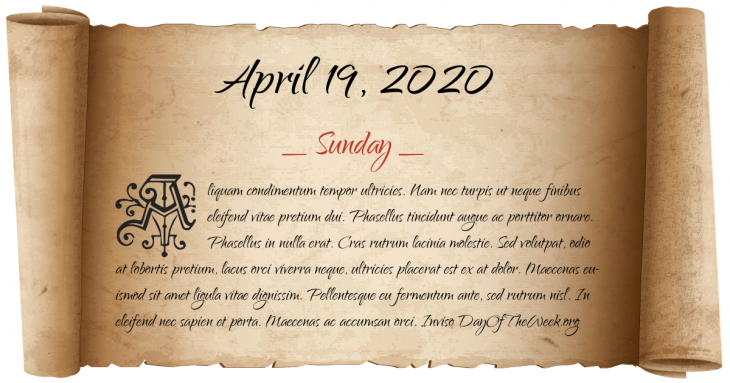 Sunday April 19, 2020