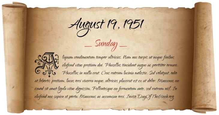 Sunday August 19, 1951