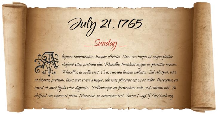 Sunday July 21, 1765