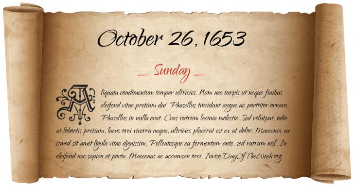 Sunday October 26, 1653