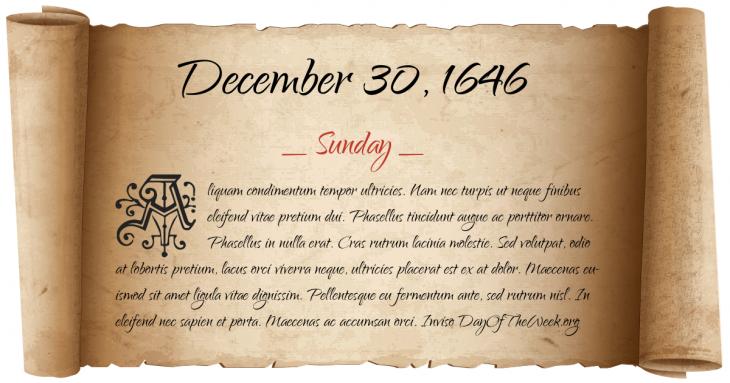 Sunday December 30, 1646