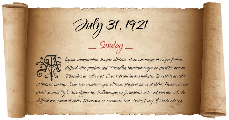 Sunday July 31, 1921