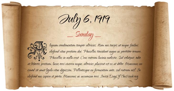 Sunday July 6, 1919