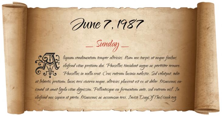 Sunday June 7, 1987
