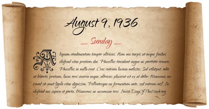Sunday August 9, 1936