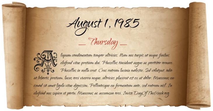 Thursday August 1, 1985