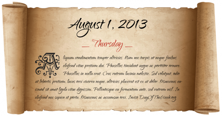 Thursday August 1, 2013