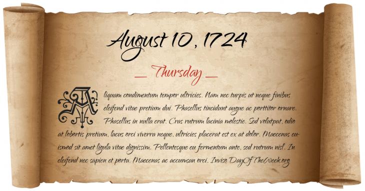Thursday August 10, 1724