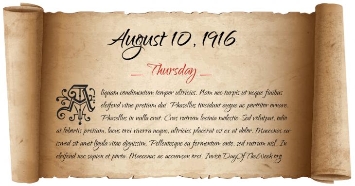 Thursday August 10, 1916