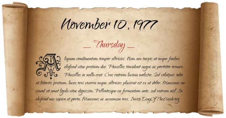 Thursday November 10, 1977
