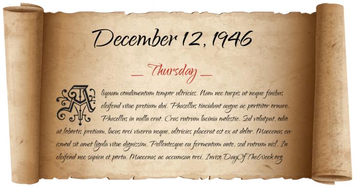 Thursday December 12, 1946