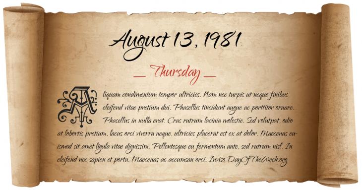 Thursday August 13, 1981