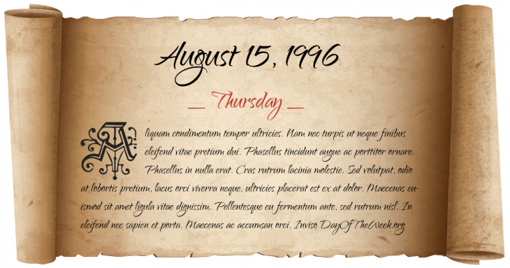 Thursday August 15, 1996