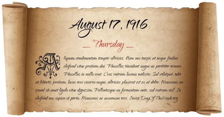 Thursday August 17, 1916