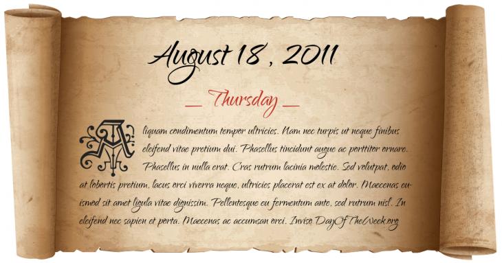 Thursday August 18, 2011