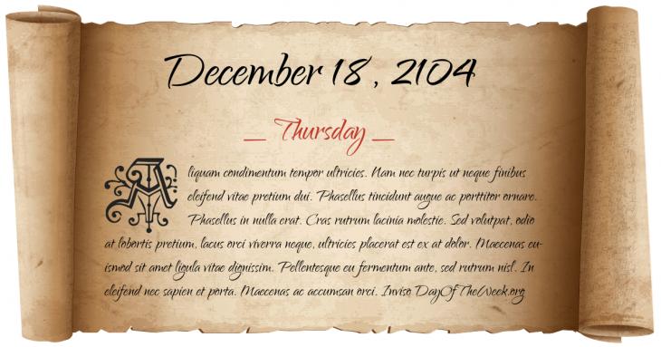 Thursday December 18, 2104