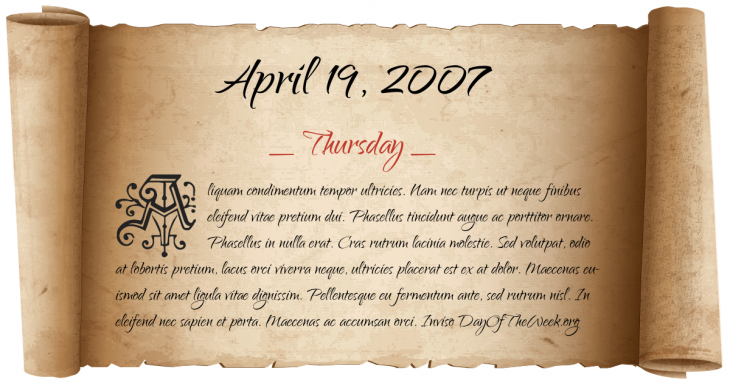 Thursday April 19, 2007