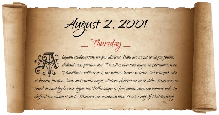 Thursday August 2, 2001