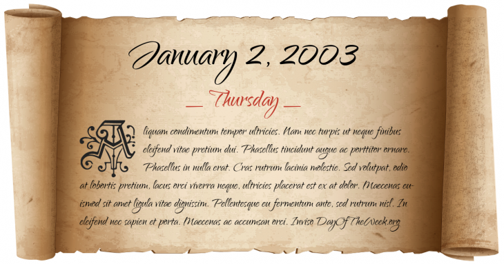 Thursday January 2, 2003