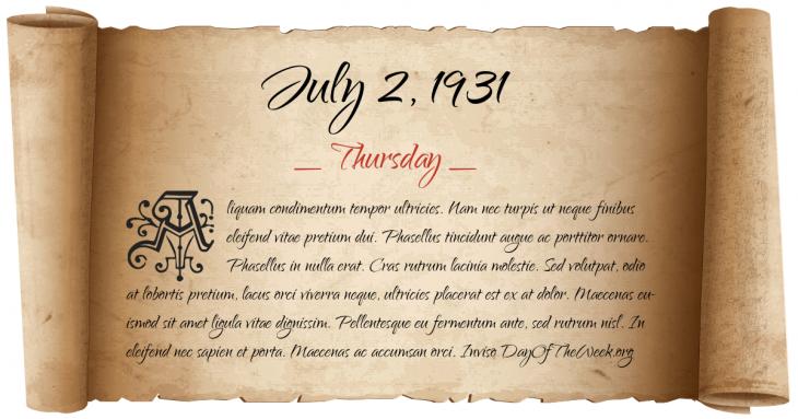 Thursday July 2, 1931