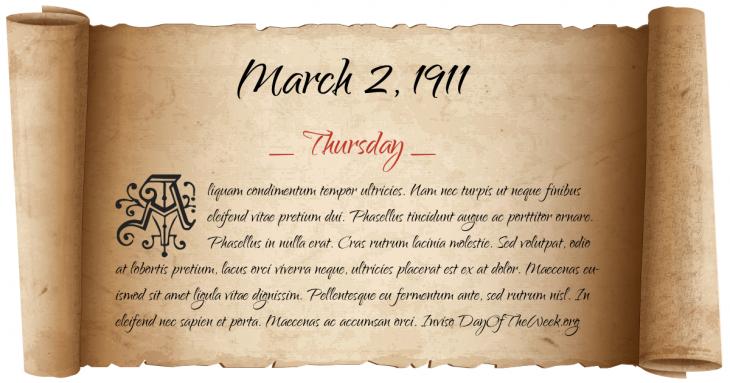 Thursday March 2, 1911
