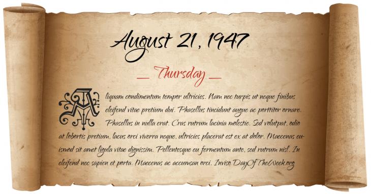 Thursday August 21, 1947