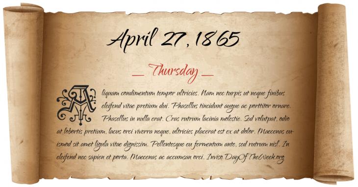 Thursday April 27, 1865