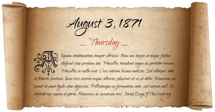 Thursday August 3, 1871