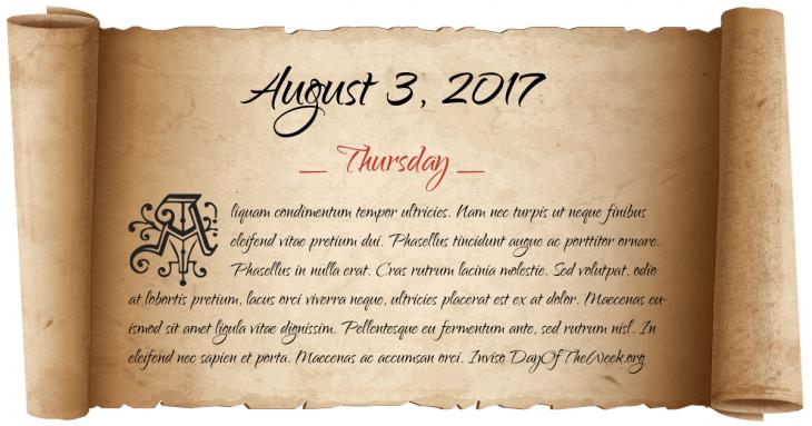 Thursday August 3, 2017