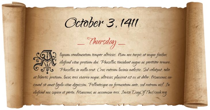 Thursday October 3, 1411