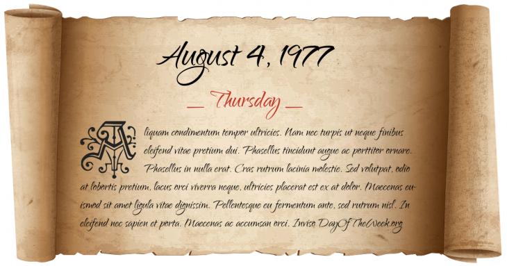 Thursday August 4, 1977