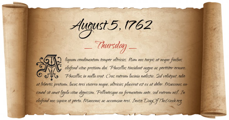 Thursday August 5, 1762