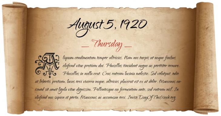 Thursday August 5, 1920