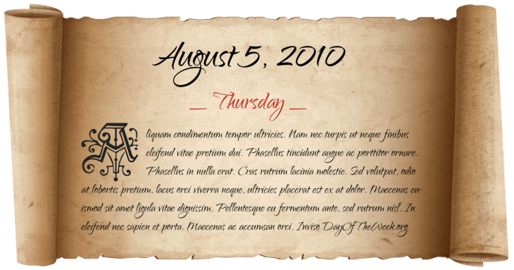 Thursday August 5, 2010
