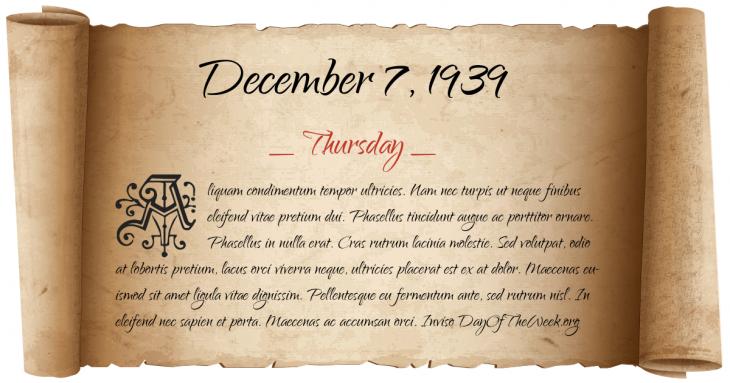 Thursday December 7, 1939