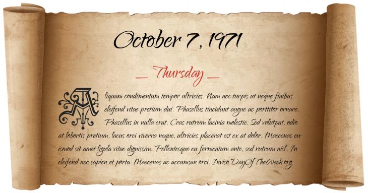 Thursday October 7, 1971