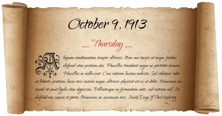 Thursday October 9, 1913