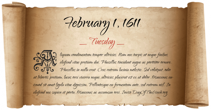 Tuesday February 1, 1611