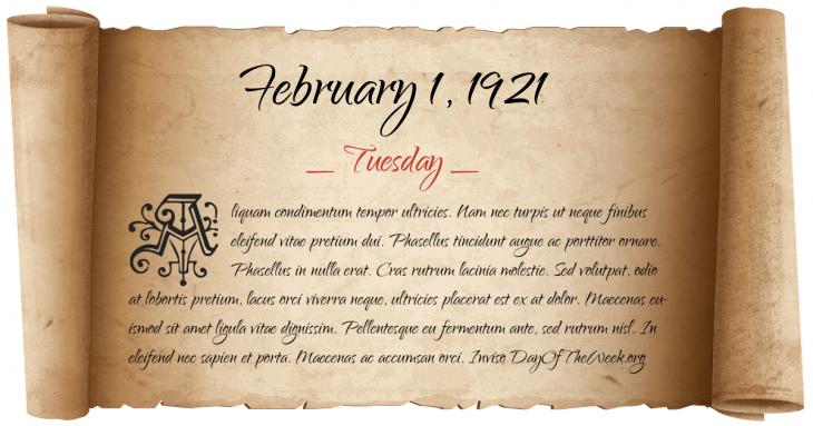 Tuesday February 1, 1921