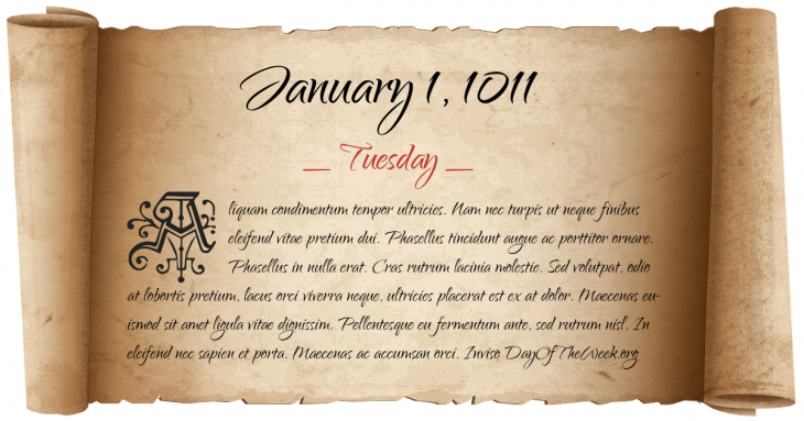 Tuesday January 1, 1011