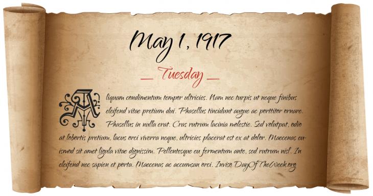 Tuesday May 1, 1917