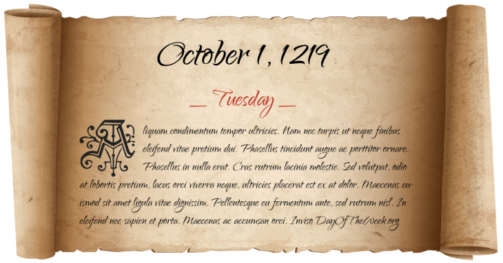 Tuesday October 1, 1219