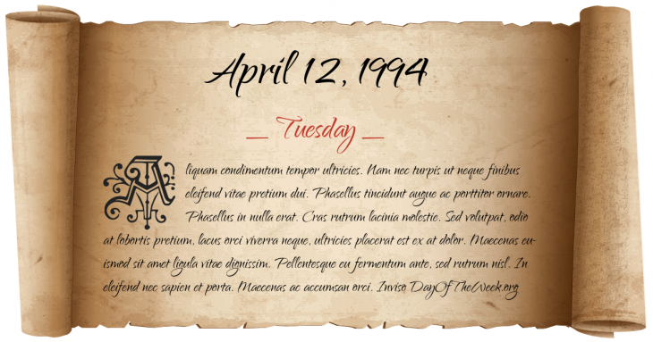 Tuesday April 12, 1994